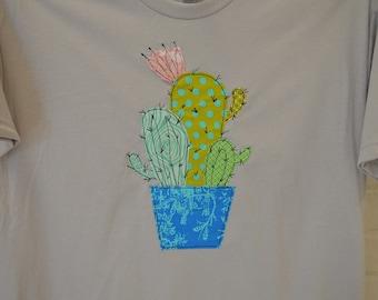 Hand Made Cactus Tee Free Motion Appliqué