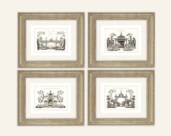 Set of 4 Chinoiserie Art Architectural Drawings in Sepia Archival Quality Prints on Watercolor Paper