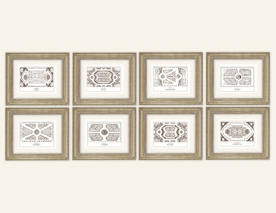 Set of 8 Antique French Garden Plans Horizontal In Sepia or – Antique Garden Plans