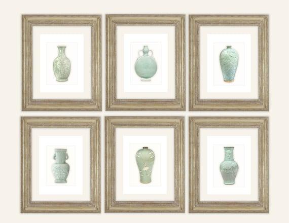 6 Set of Chinoiserie Celadon Green Porcelain Vase Illustrations Archival Prints