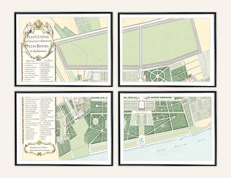 Ensemble De 4 Francais Antique Jardin Plan De Chateau De Etsy