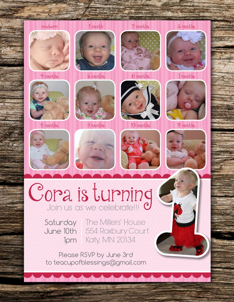 Month To Pictures First Birthday Invitation