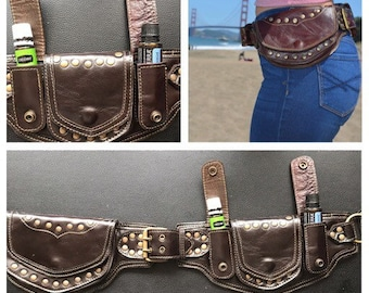a037de18220 Sale Dark Brown leather sycamore style utility belt/ pocket belt/ belt bag/  festival belt/burning man belt