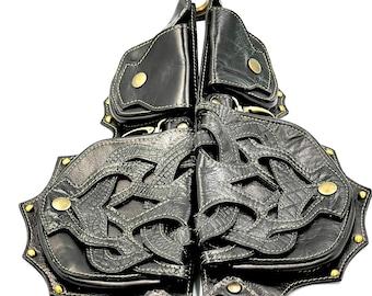 Black Leather Arbor Hip Belt - Utility Belt - Festival Belt