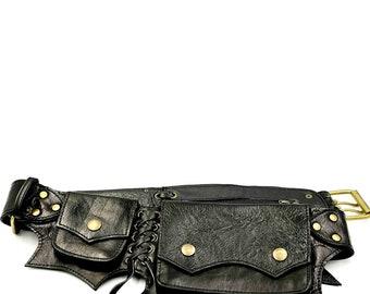 Black Leather Hip Belt The Cypress - Fannypack - Pocket Belt