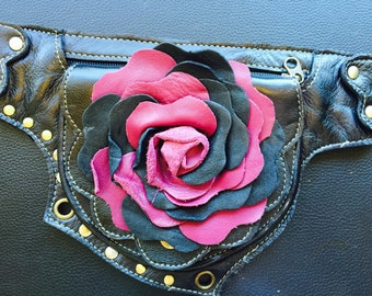 Valentine's day sale leather rose utility belt/ beltbag/ pocket belt