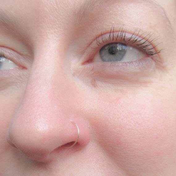 10k Gold Nose Hoop 22 Gauge Solid Gold Nose Ring Etsy