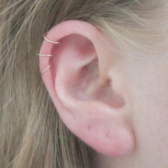 Hoops Three Earrings14k Hoops3 Gold Helix Thin Hugging Hoop Cartilage Gauge Set Mini Piercing Of Ear Filled24 5L3R4Aj