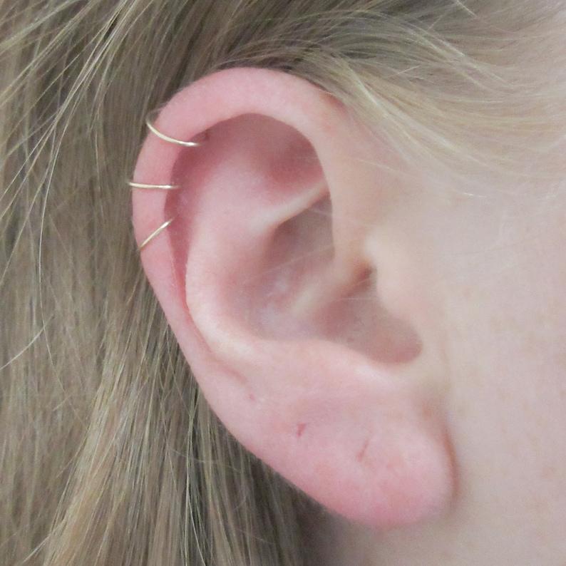 ab5706187226e Set of Three Thin Cartilage Hoop Earrings, 14K Gold Filled 24 Gauge Helix  Piercing Hoops, 3 Ear Hugging Mini Gold Hoops