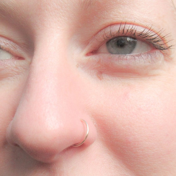 14k Rose Gold Filled Nose Ring 20 Gauge Pink Gold Nose Hoop Etsy