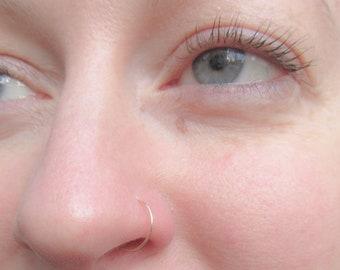 14K Gold Filled Thin Discreet Nose Ring, 24 Gauge Gold Nose Hoop