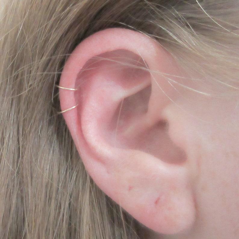 ba19c170548ed Cartilage Piercing Hoop Earrings, 14K Gold Filled 22 Gauge Helix Earrings,  Gold Mini Hoops, Ear Hugging Hoops, Two Nose Rings