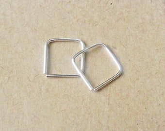 Mini Square Hoop Earrings, Argentium Silver Cartilage Hoops, Helix Piercing, Recycled Silver Hoops, Sterling Silver Ear Huggers