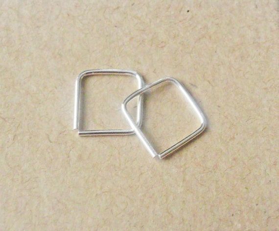 47d031ae9 Mini Square Hoop Earrings, Argentium Silver Cartilage Hoops, Helix  Piercing, Recycled Silver Hoops, Sterling Silver Ear Huggers