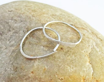 Argentium Silver Sleeper Hoops, Small Hammered Hoops, 20 Gauge Sterling Silver Hoops, Recycled Silver Earrings, Small Hoop Earrings