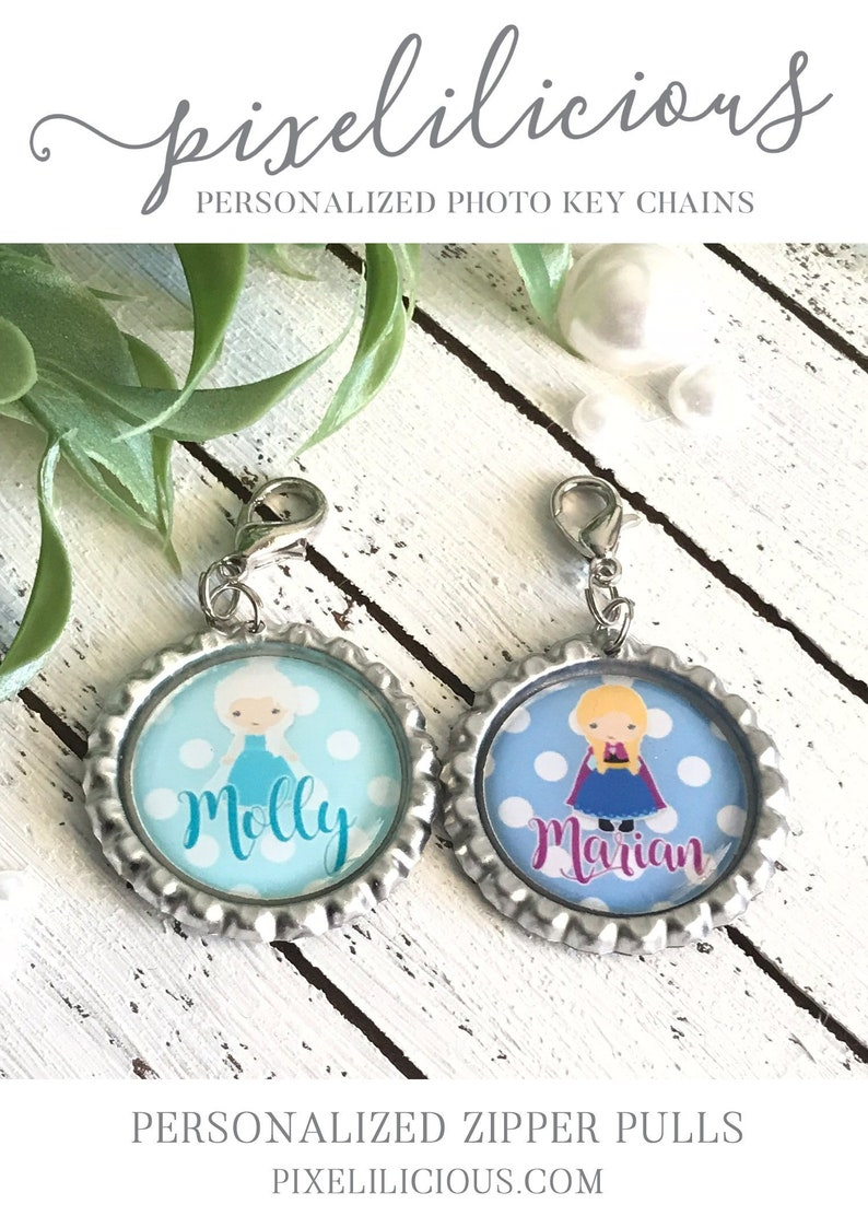 Personalized Princess Zipper Pulls Includes 2 Backpack Tag Custom Party Favor Custom Id Tag Backpack Accessory Custom Zipper Pull