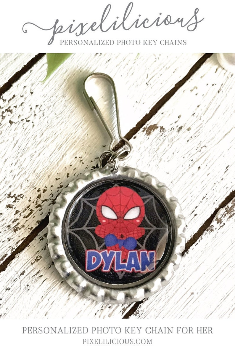 Personalized Superhero Zipper Pull Backpack Charm Custom Backpack Accessory Lunchbox Clip Superhero Party Favor Personalized Id Tag
