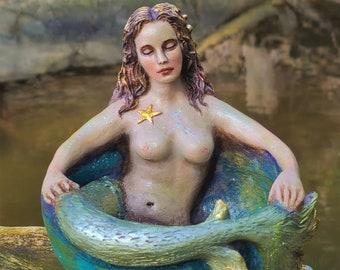 Mermaid Bowl, FREE SHIPPING, Ocean Goddess with Seahorse, By ShapingSpirit, Debra Bernier