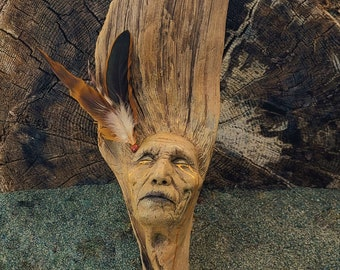 Reserved for Yogee, Sept. 3 of 3, Lost In A Sunset, Elder Native Man with Feathers, By Debra Bernier, Shaping Spirit