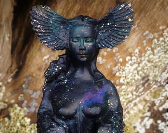 Black Owl Goddess, Sacred Vision Woman, By Shaping Spirit, Debra Bernier