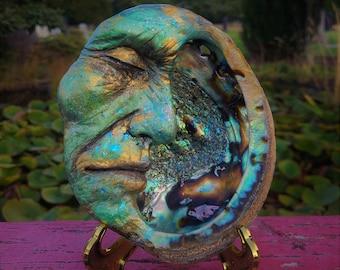 Reserved for Sam, Payment September 1 of 3, Man in the Moon, Elder Moon, Abalone, By Debra Bernier, Shaping Spirit
