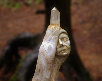Reserved for Terri, Oct. 2 of 3, How Beautiful They Grow, Driftwood Crystal Wand By Debra Bernier, Shaping Spirit
