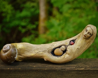 Open To The Glories Of The Stars, Mother and Child, Driftwood Talking-Stick by ShapingSpirit, Debra Bernier