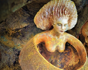 Reserved for Evita, July 3 of 4, We Are Earth's Harmony, Offering Bowl Woman With Shell, By ShapingSpirit, Debra Bernier