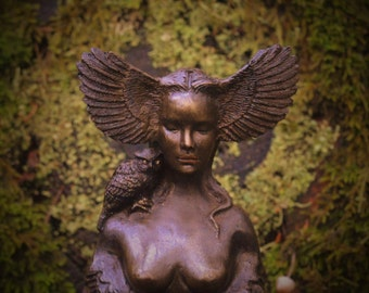 Reserved for Bob, July 3 of 3, Owl Goddess, Talking Stick, Bird Woman with Wings, Sculpture by ShapingSpirit (Bronze)