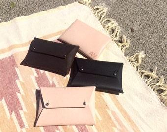 LEATHER ENVELOPE WALLET • Leather envelope clutch • Leather envelope purse • Leather card holder • Leather wallet • Card wallet