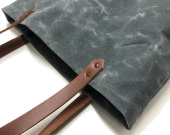 Slate Grey Waxed Canvas and Leather Tote Bag   Water resistant, laptop and everyday bag