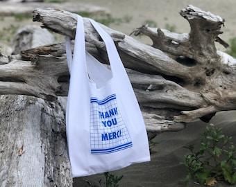 Thank You Merci Gratitude Grocery Bag   Fabric Bodega Bag   Canvas Plastic Bag