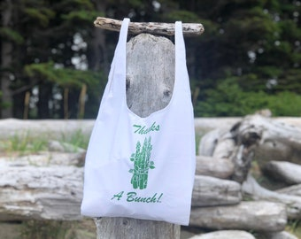 Thanks a Bunch Asparagus Gratitude Grocery Bag   Fabric Bodega Bag   Canvas Plastic Bag