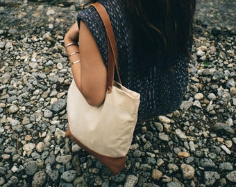 Natural Waxed Canvas and Leather Tote Bag   Water resistant, laptop and everyday bag