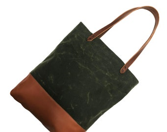 Olive Waxed Canvas and Leather Tote Bag   Water resistant, laptop and everyday bag