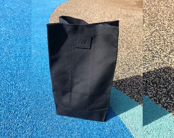 LUNCH BAG in Black   Waxed Canvas Lunch Bag   Paper Bag Lunch Bag