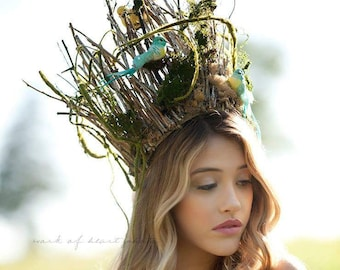 Woodland Fairy Crown Forest Queen Fairy Crown Wood Nymph Natural Headpiece Moss Crown Bird Headdress Fairy Costume Fantasy.  sc 1 st  Etsy & Woodland fairy costume | Etsy