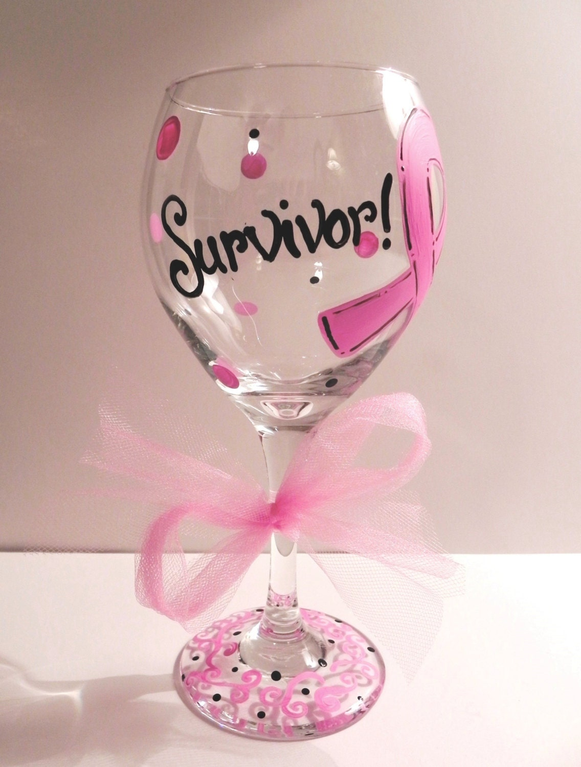 Pink Ribbon Breast Cancer Wine Glass | Etsy