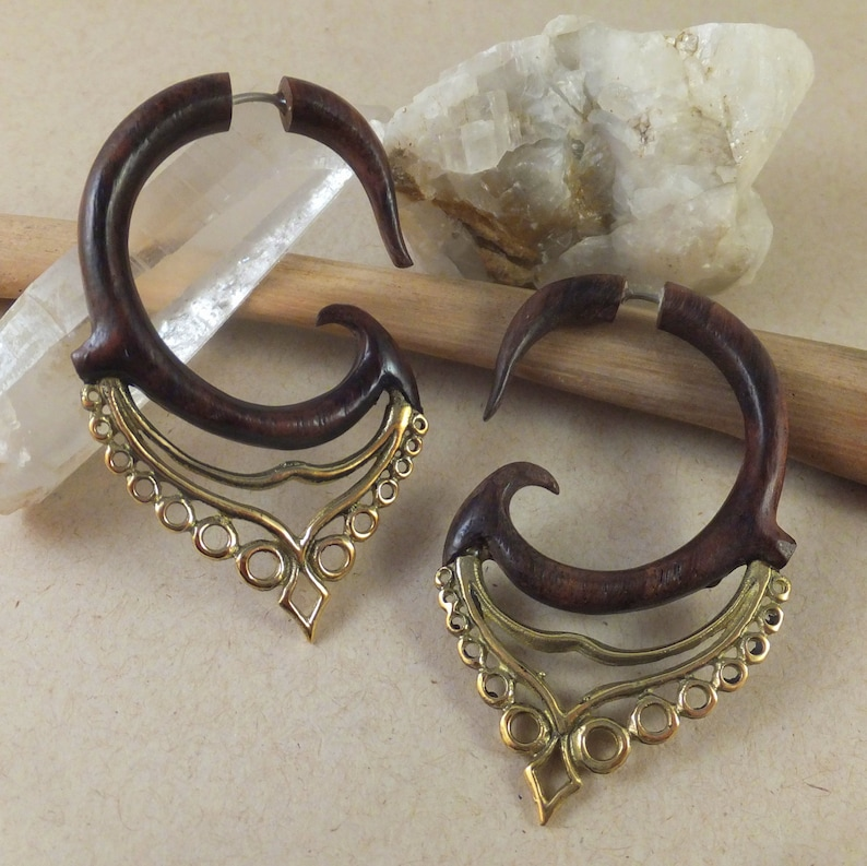 Free shipping Faux Gauge Moroccan inspired Wood and Brass Earrings ~ The gauged look without the commitment gift box included