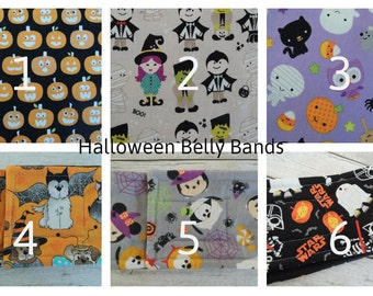 Halloween Dog Belly Band, Zorb Option, Tapered Option, Stops Marking, Male Dog, Personalized