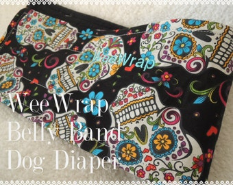 Dog Diaper Belly Band, Stops Marking, Sugar Skulls, Folkloric, Male Dog, Personalized