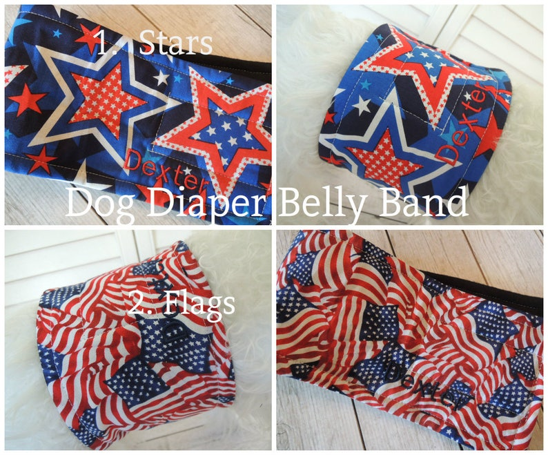 Stars, Flags, Red White and Blue Dog Diaper Belly Band, Male Dog, Stops  Marking, Personalized, FAST Shipping