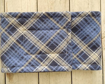 Dog Diaper Belly Band, Flannel Plaid Blue and Grey, For Male Dogs, Personalized, FAST Shipping