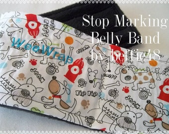 Fire Hydrant Dogs, Dog Diaper Belly Band, FAST Shipping, Stop Marking, Personalized