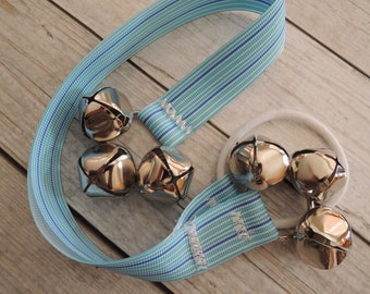 Paw Bells, Dog Housebreaking Potty Trainer, Blue Stripe , Instructions Included, Fast Shipping, Optional Hook Add On