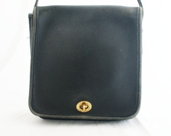 f81dad9b59b9 Leather Purse - Small Black COACH Square Shaped short strap bag compact