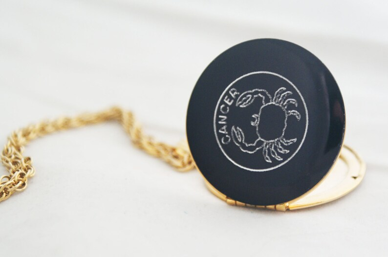 Necklace Locket Cancer crab July horoscope gold metal round