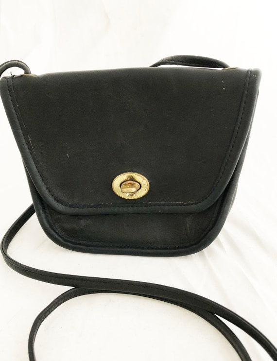 e5a22cb6440 COACH - Small black leather travel crossbody messenger