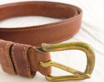 "Belt - COACH British Tan Leather size 38"" solid brass hardware"