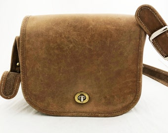 Coach Purse - Small Tan Leather Purse with flap over the shoulder